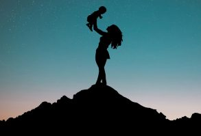 woman, baby, silhouette